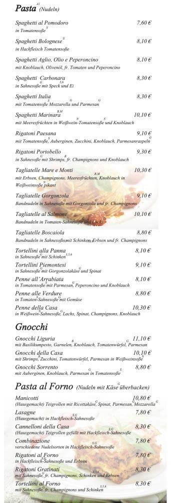 Portobello-Speisekarte Seite 2